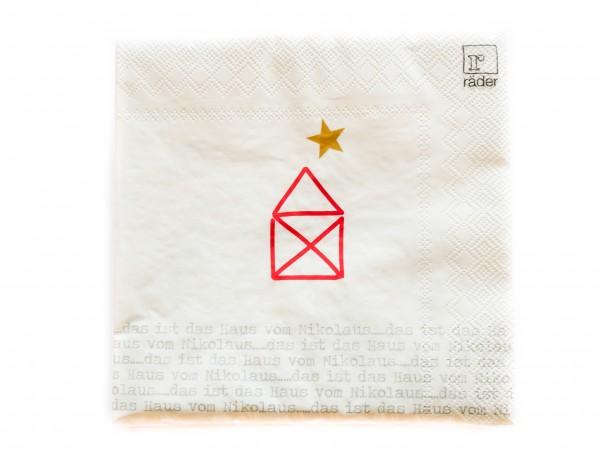 """Räder Weihnachtszeit Papierservietten """"Das ist das Haus vom Nikolaus"""" 33x33cm"""