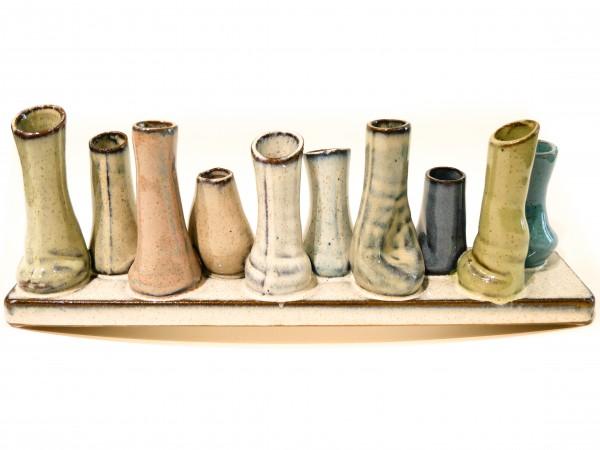 Spang - Keramik 10 Minivasen in versch. Farben