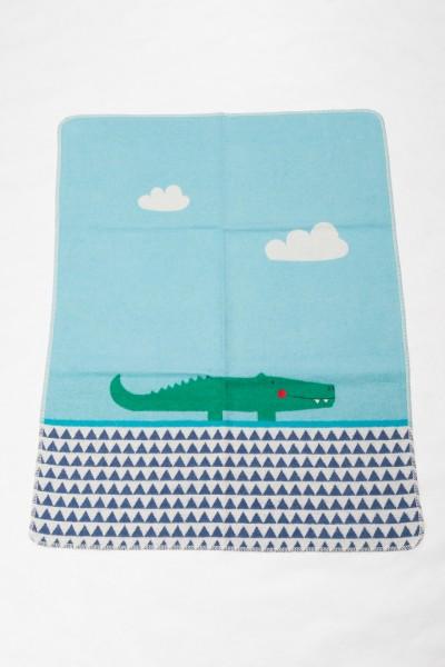 "FusseneggerBabydecke Juwel""Krokodil"" mit StickJade70 x 90cm"