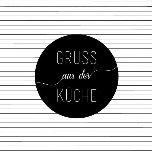 """Räder P.e.T. Papierservietten """"Gruß aus der Küche"""" Weiß/Schwarz"""