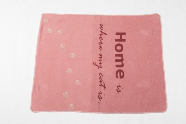 """FusseneggerHaustierdecke """"Home is where mycat is""""Rouge70 x 90 cm"""