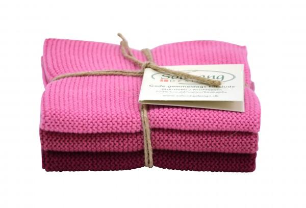 Solwang Wischtücher 3er Set - dunkel rosa Kombi