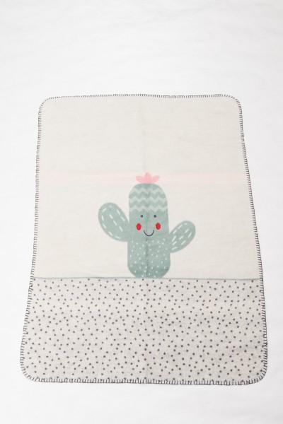 "FusseneggerBabydeckePanda""Kaktus"" mit StickGlasgrün75 x100cm"