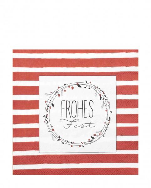 Räder Weihnachtszeit Papierservietten Frohes Fest 33x33cm rot/weiß