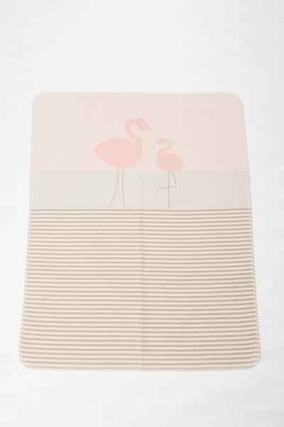 "FusseneggerBabydecke Juwel""Flamingos/Streifen"" mit StickAltrosa70 x 90cm"