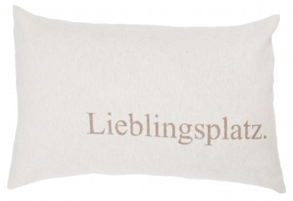 """Fussenegger Silvretta Kissenhülle """"Lieblingsplatz""""Rauch Hellbeige 40 x 60 cm"""
