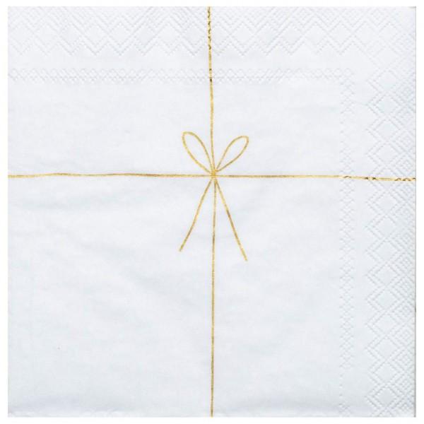 Räder Weihnachtszeit Cocktailserviette Schleife Geschenk 25x25 cm Weiß/Gold